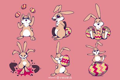 Easter Bunny Illustration Set
