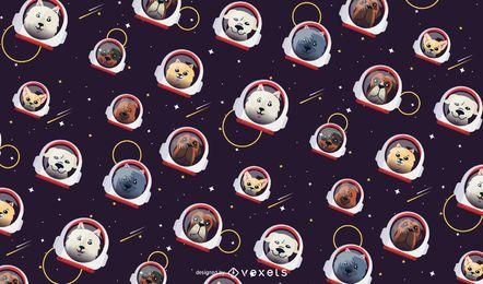 Design de padrão de cães do espaço