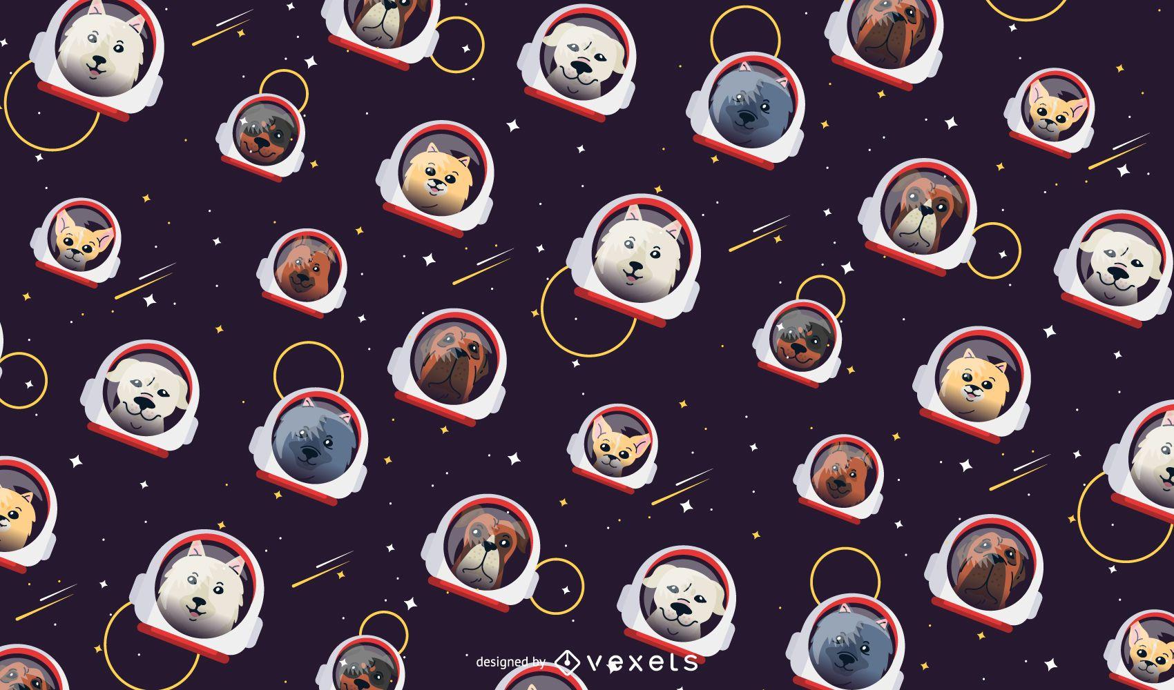 Diseño de patrón de perros espaciales