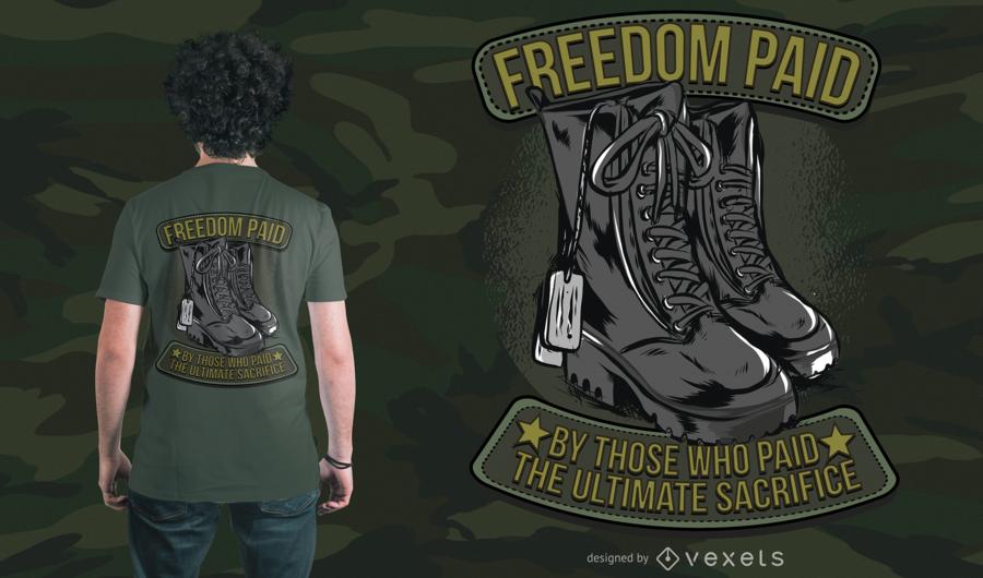 Projeto do t-shirt da liberdade do exército