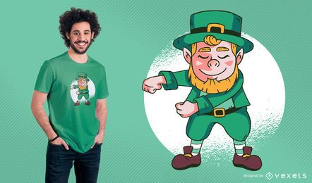 Flossing Leprechaun T-Shirt Design