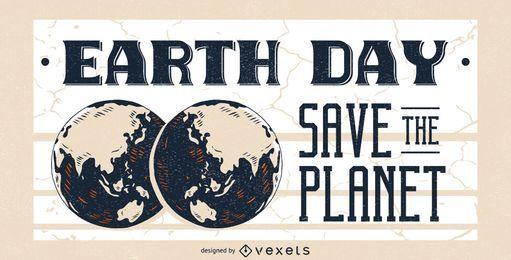 Diseño del cartel del día de la tierra del planeta