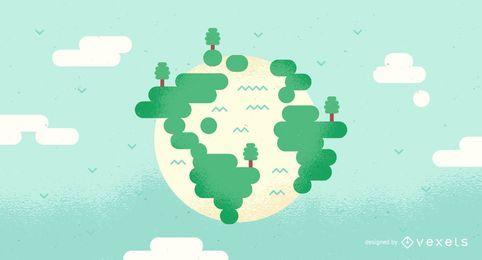 Salvar a ilustração da terra e das árvores