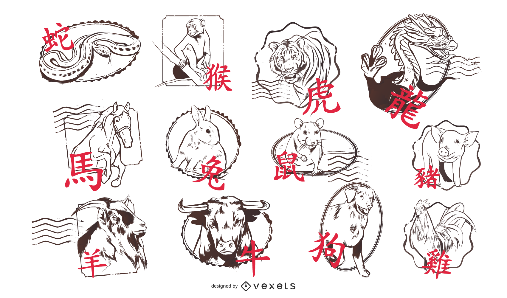 Chinese Horoscopes Design Set