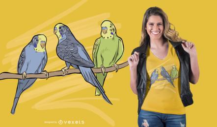 Pássaros no design do t-shirt do ramo