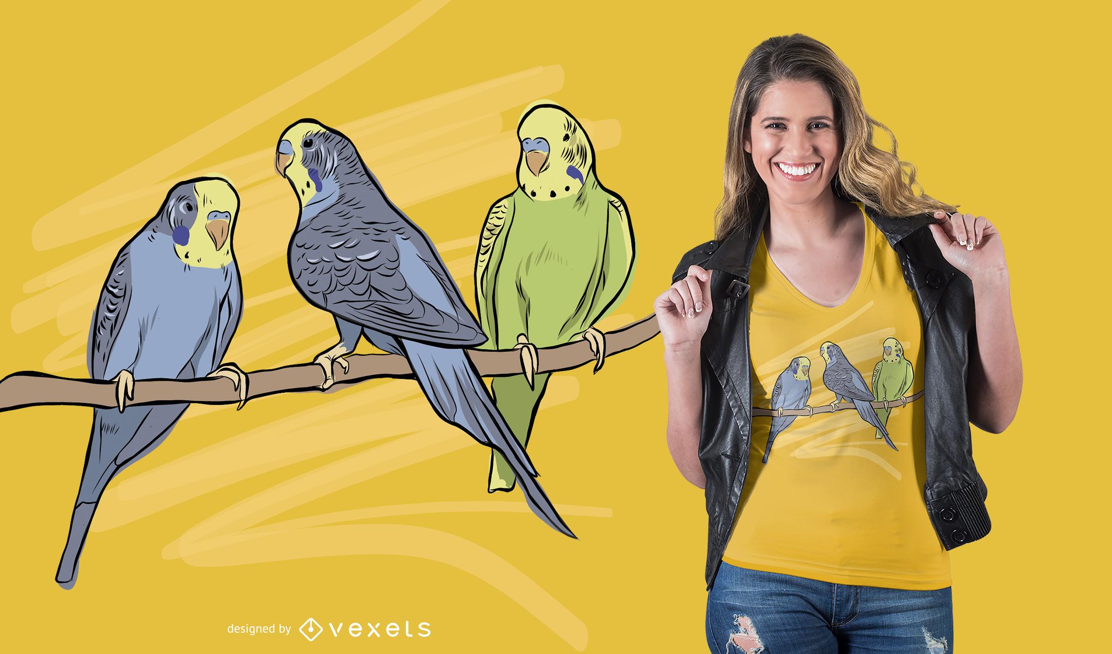 Vögel auf Zweig T-Shirt Design