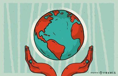 Salvar a ilustração da terra