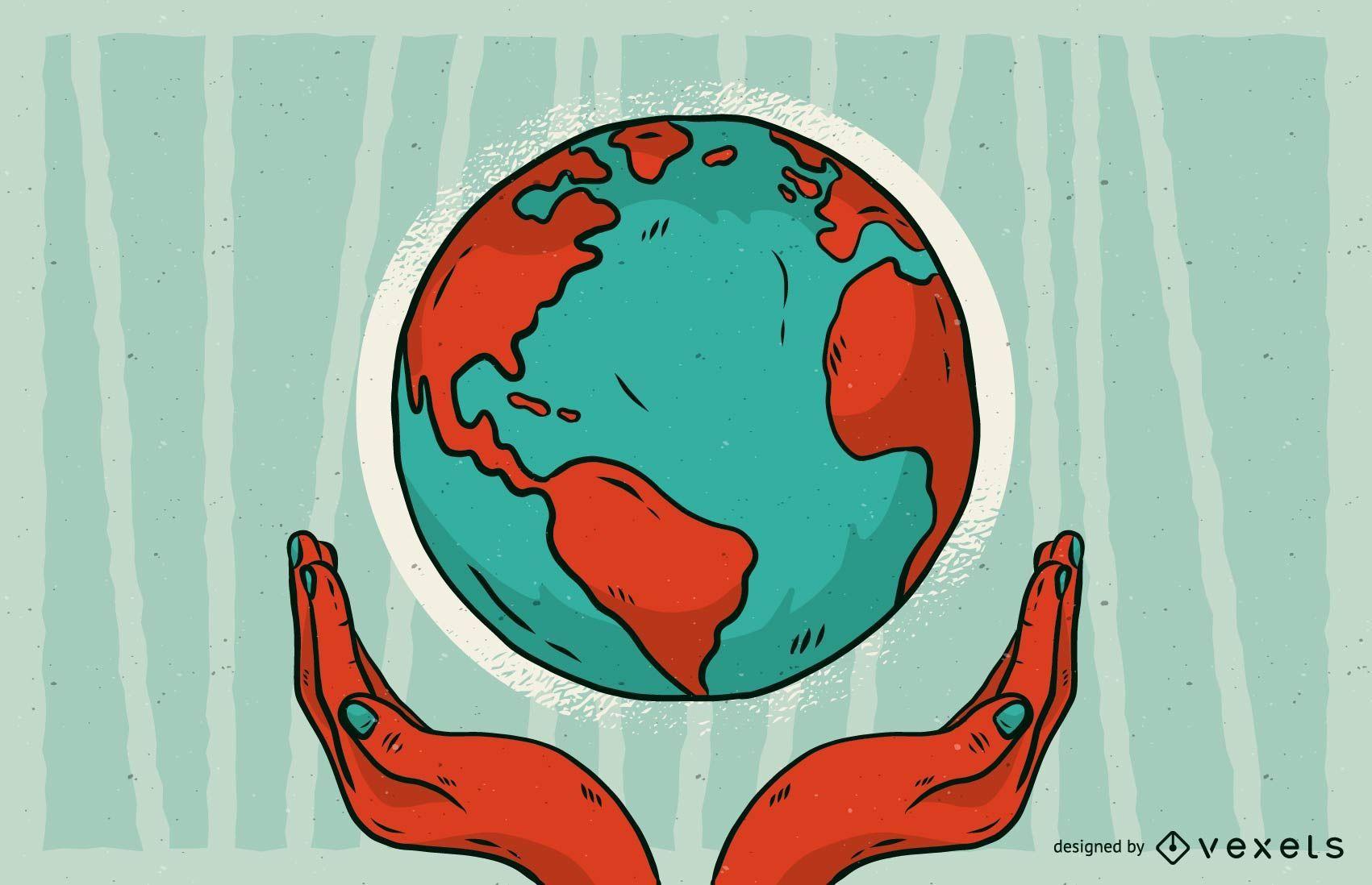 Salvar la ilustraci?n de la tierra