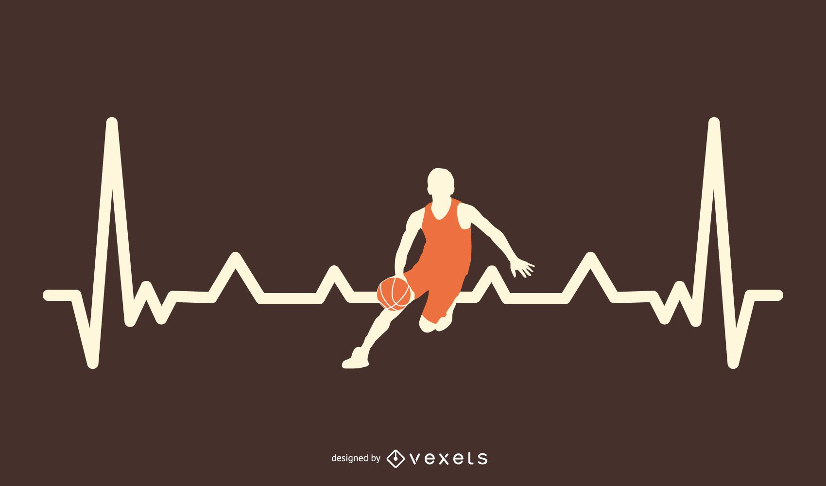 Basketball Heartbeat Line Design