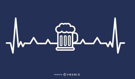 Cerveza con diseño de latido del corazón