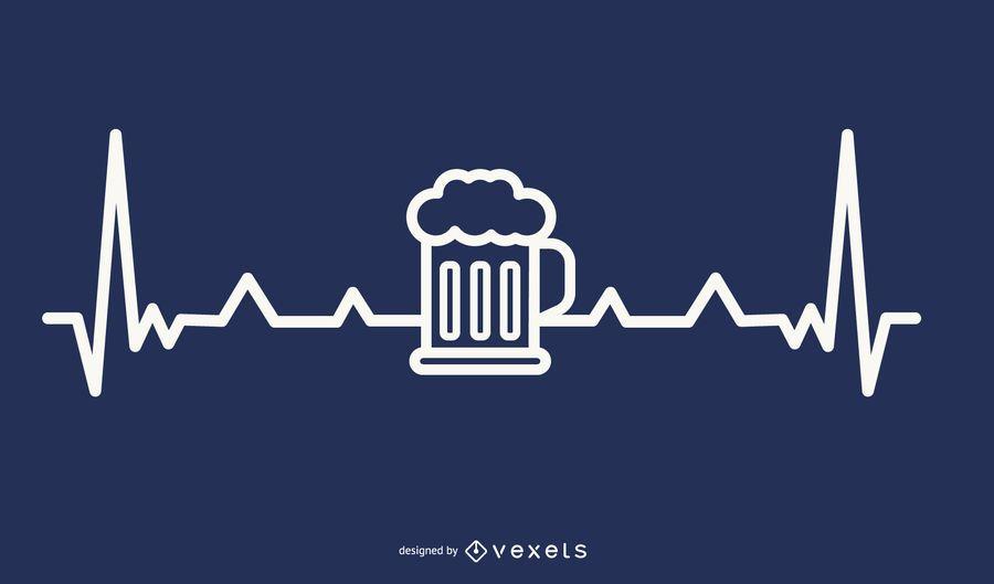 Cerveza con diseño de latidos del corazón