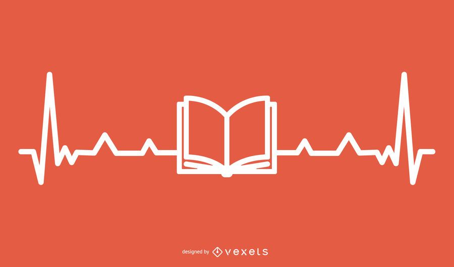 Book with Hearbeat Line Design