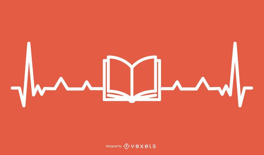 Libro con diseño de línea Hearbeat