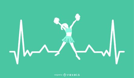 Cheerleading with Heartbeat Line Design