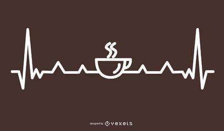 Design de linha de batimento cardíaco de café