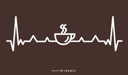Kaffee Herzschlag Linie Design