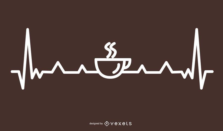 Coffee Heartbeat Line Design
