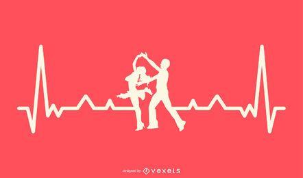 Tanzen mit Heartbeat Line Design