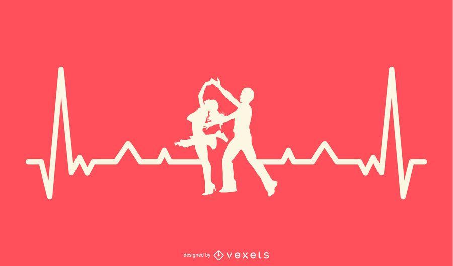 Dançando com design de linha de batimento cardíaco