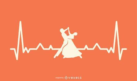 Línea de latidos del corazón con ilustración de bailarina.