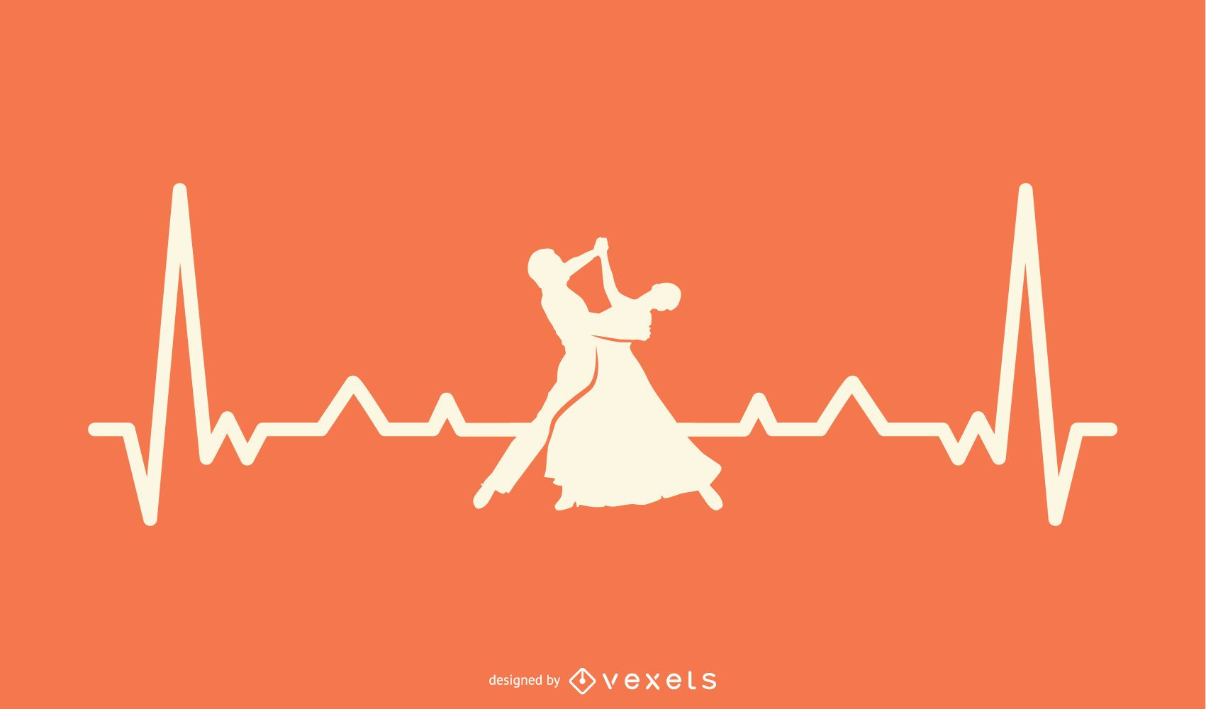 Heartbeat line with dancer illustration