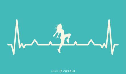 Dançarino com Design de linha de batimento cardíaco