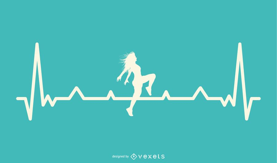 Dancer with Heartbeat Line Design