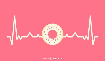 Heartbeat Line with Donut Illustration
