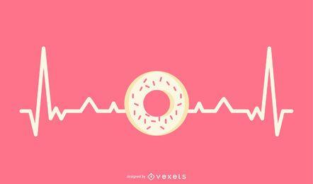 Línea de latido del corazón con ilustración de donut