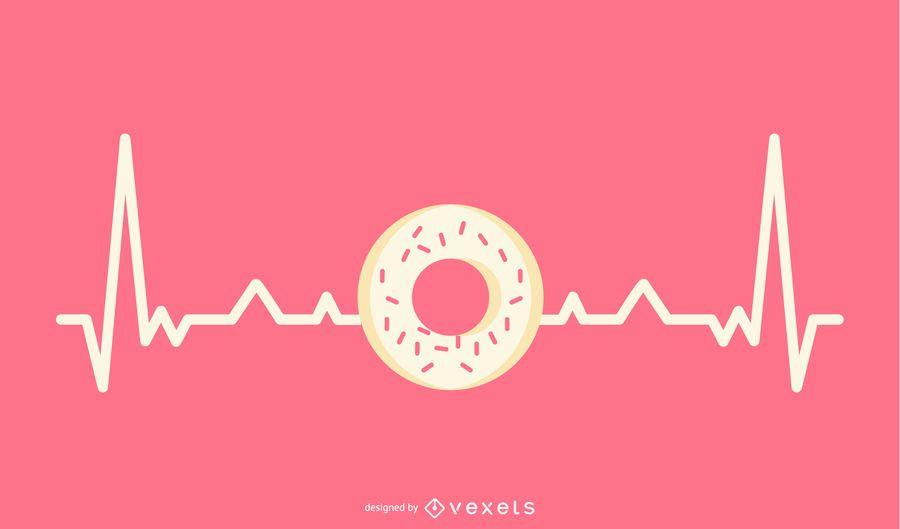 Linha de batimentos cardíacos com ilustração de donut