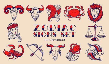 Conjunto de signos de zodiaco vintage
