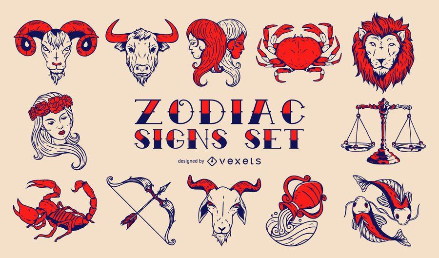 Conjunto de sinais do zodíaco vintage