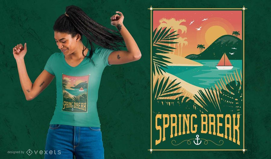Diseño de la camiseta de las vacaciones de primavera del vintage