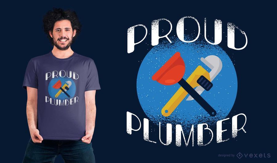 Diseño orgulloso de la camiseta del fontanero