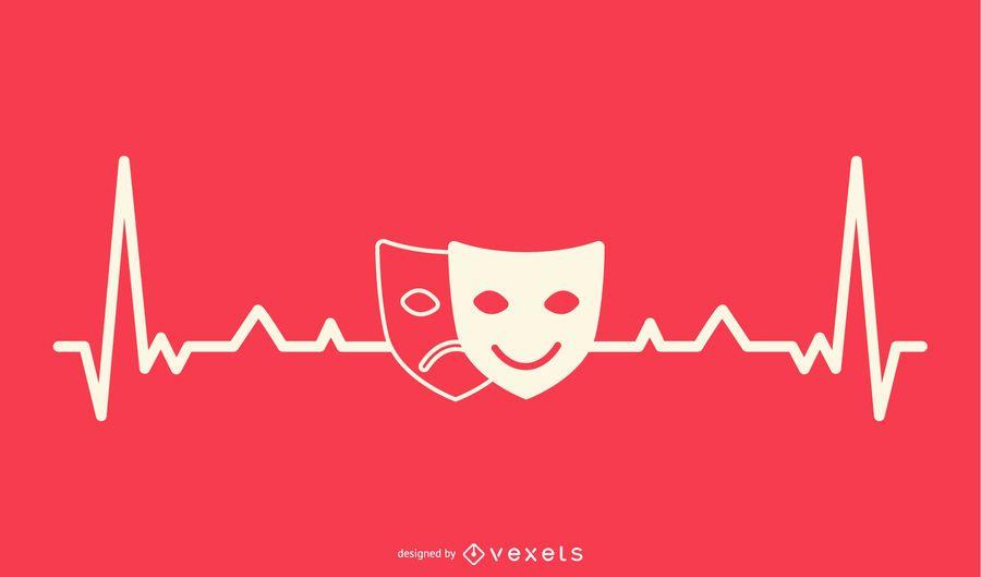 Máscara de drama com design de linha de batimento cardíaco