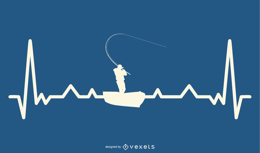 Fishing with Heartbeat Line Design