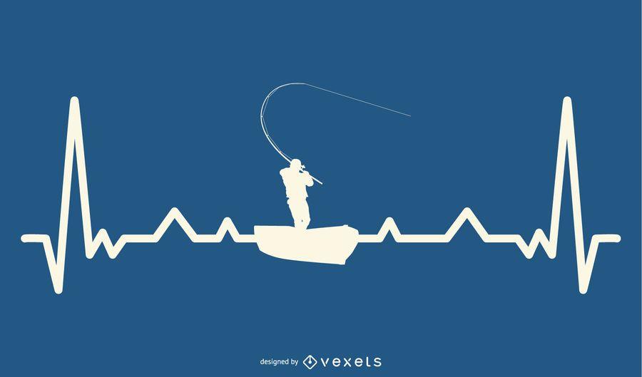Pesca com design de linha de batimento cardíaco