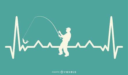 Línea de latidos del corazón con diseño de pesca