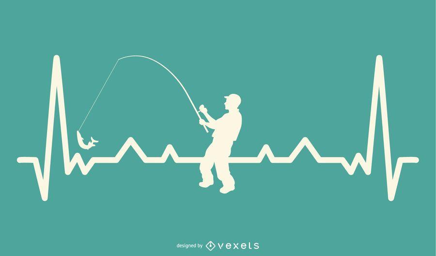Linha de batimentos cardíacos com design de pesca