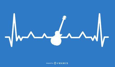 Guitarra com design de linha de batimento cardíaco