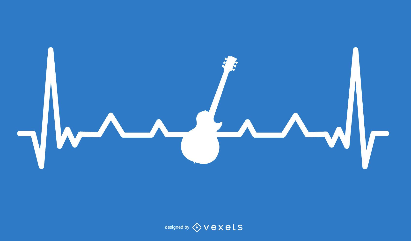 Guitar with Heartbeat Line Design