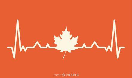 Ahornblatt mit Heartbeat Line Design