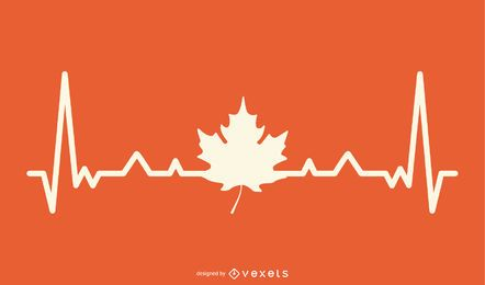 Maple Leaf with Heartbeat Line Design