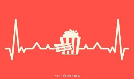 Filme com Design de Linha de Batimentos Cardíacos
