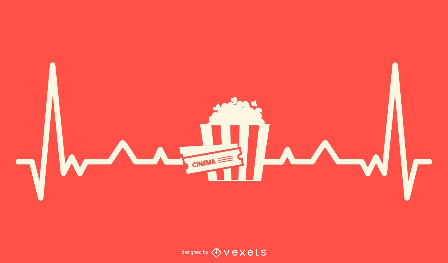 Movie with Heartbeat Line Design