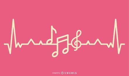Design de batidas cardíacas de amor musical