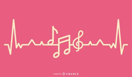 Music Love Heartbeat Design