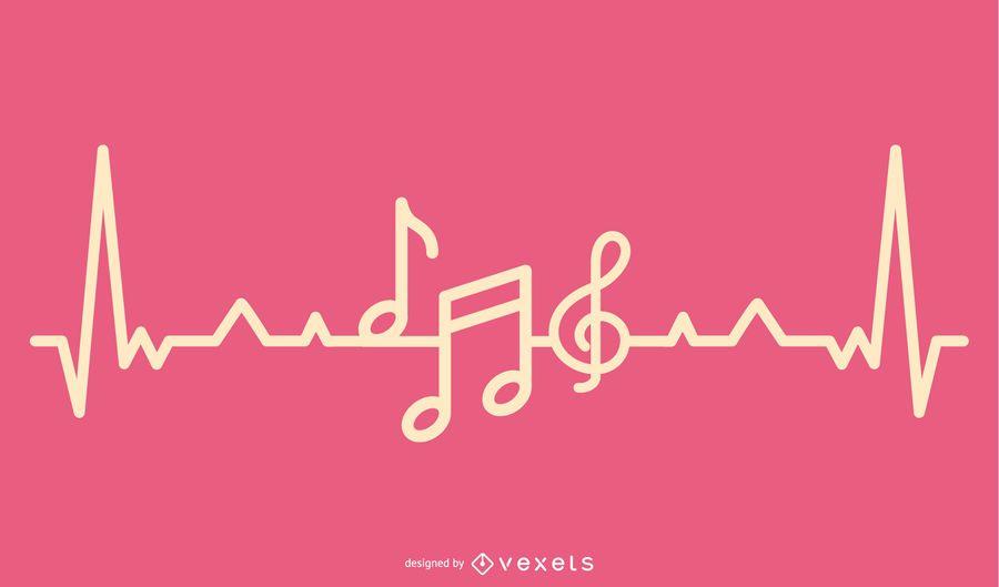 Música amor Heartbeat Design