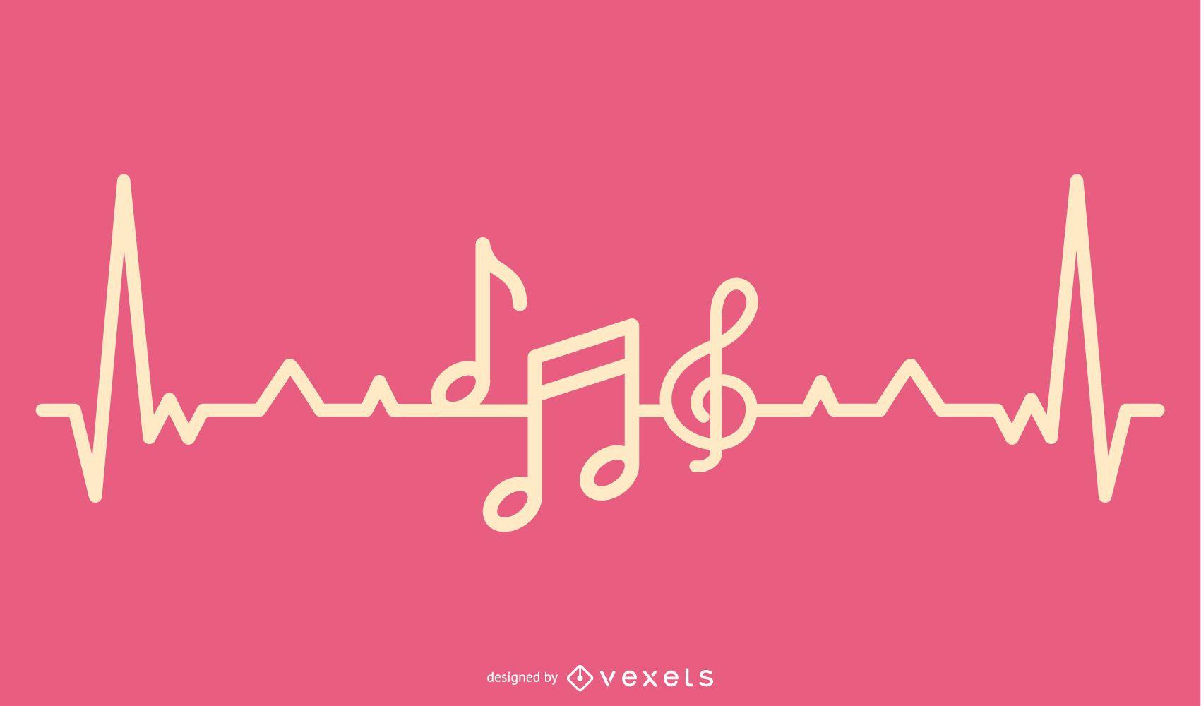Music Love Heartbeat Design