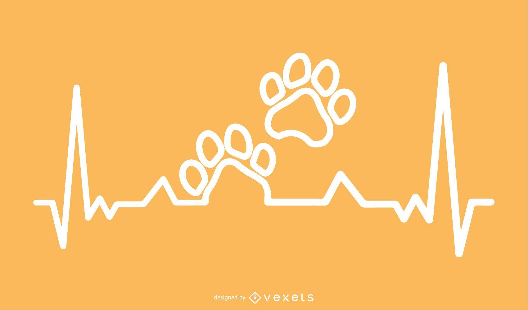 Impressão de pata com design da linha Heartbeat